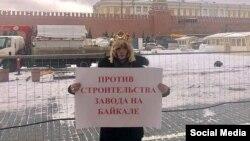 Сергей Зверев на Красной площади во время пикета против строительства завода на Байкале
