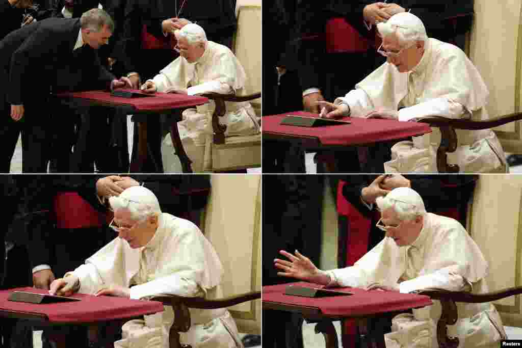 "A combo photo shows Pope Benedict XVI posting his first tweet (@pontifex) using an iPad after his general audience in Paul VI's Hall at the Vatican. ""Dear friends, I am pleased to get in touch with you through Twitter. Thank you for your generous response. I bless all of you from my heart,"" the tweet said."