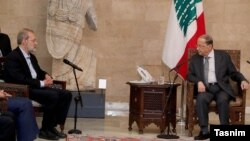Lebanese President Michel Aoun meeting with the Iranian Parliament Speaker Ali Larijani. February 17, 2020