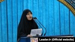 Zeinab Soleimani, the daughter of Iran's IRGS Majer-General Qassem Soleimani delivering her speech in his funeral in Tehran, Iran, January 6, 2020.