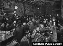 A soup kitchen for St. Petersburg's poor photographed in 1911.