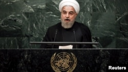 Iran's President Hassan Rohani addresses a plenary meeting of the United Nations Sustainable Development Summit 2015 at UN headquarters in New York on September 26.