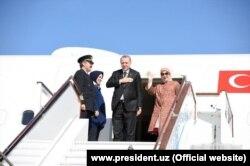 Президент Турции Реджеп Тайип Эрдоган и его супруга Эмине Эрдоган. Бухара, 1 мая 2018 года.
