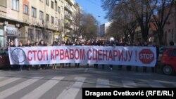 Vučićeve pristalice u na protestu u Nišu, 1. decembar 2019.