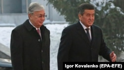 Казакстандын президенти Касым-Жомарт Токаев менен Кыргызстандын президенти Сооронбай Жээнбеков, 27-ноябрь, 2019-жыл.