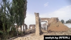 A burned school in the village of Shark near Osh