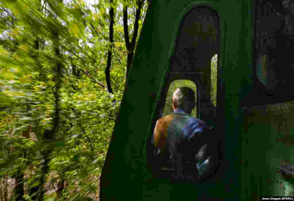 For the first few hundred meters the railway line looks much like any other, but soon the trees close in. The reason for this, according to local journalist Alla Sadovnyk, dates back to the Cold War.