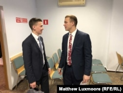 "Elder Schaub from Köln, Germany (left), and Elder Seegmiller from the U.S. state of Utah at the Church of Jesus Christ of Latter-day Saints meeting house in Tver earlier this month. ""Before, you could go up to someone and you could start a conversation about the gospel. And now, we just try and make friends,"" says Seegmiller."
