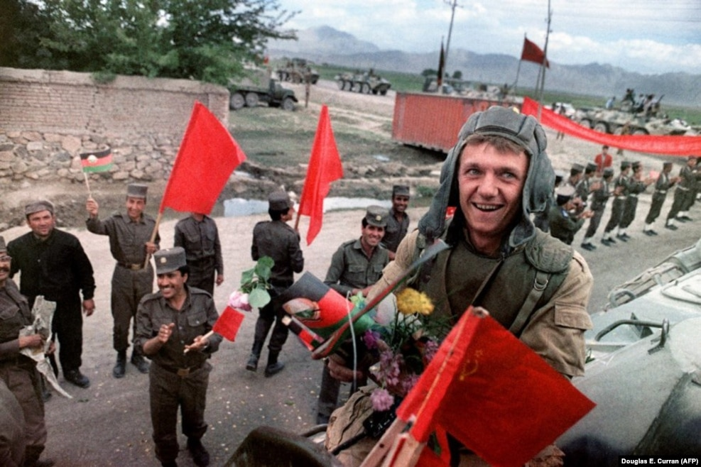 "February 1989: After nine years of fighting to prop up a communist government in Kabul, the Soviet Army pulls out of Afghanistan. Despite a carefully stage-managed withdrawal, the flowers and applause cannot conceal the shock of defeat for the ""invincible"" Soviet Army. Around 15,000 Soviet troops had died in the conflict, along with more than 1 million Afghan civilians."