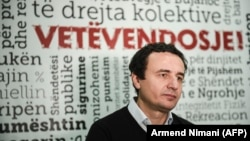 Member of the Kosovo Parliament and Opposition Leader Albin Kurti speaks during an interview in Pristina