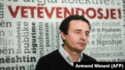 Albin Kurti speaks during an interview in Pristina in 2016.