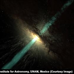 Так, вероятно, выглядят сверхмассивная черная дыра, аккреционный диск и вырывающиеся из него потоки плазмы – джеты