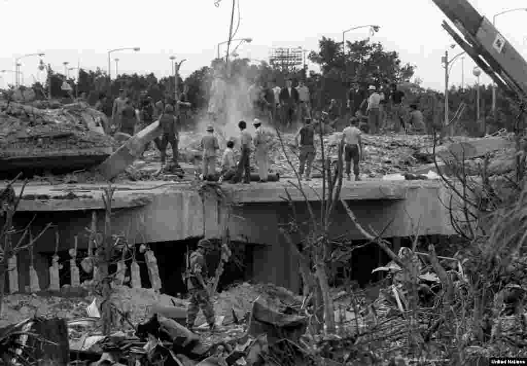 U.S. Marines clear rubble from their bombed headquarters in Beirut in October 1983. U.S. and French peacekeepers were bombed on the same day in attacks later claimed by Hezbollah. Altogether, 241 U.S. servicemen and 58 French troops were killed in the bombings.