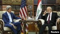 ابراهیم الجعفری، وزیر امور خارجه عراق و جان کری، همتای آمریکاییاش.
