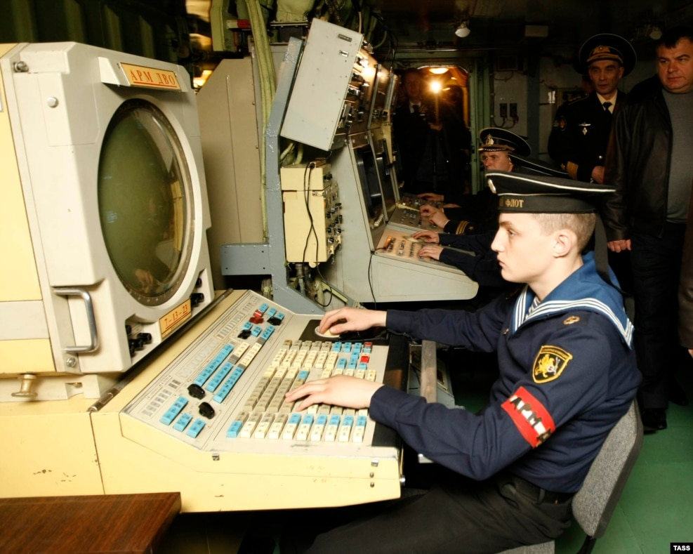 A radar operator aboard the Admiral Kuznetsov. Fully crewed, the vessel is home to 2,626 sailors and air crew.  No figures for crew ages are available for the Russian carrier, but the average age aboard a comparable U.S. Nimitz-class aircraft carrier is 19.