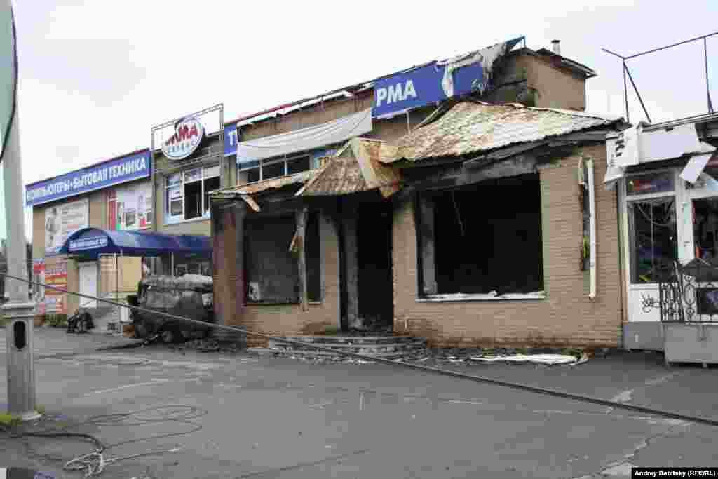 A burned out shop.
