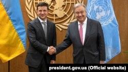 Президент Украины Владимир Зеленский и генеральный секретарь ООН Антониу Гутерриш (справа). Нью-Йорк, 26 сентября 2019 года