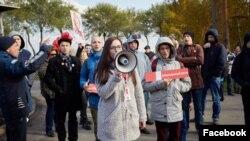 Ксения Пахомова на митинге в поддержку Алексея Навального