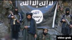 «Өзбекстан ислам қозғалысы» экстремистік ұйымы содырлары ИМ-ге адал болуға ант беріп тұр. Видеодан алынған скриншот.