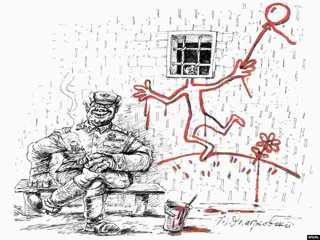 "Mikhail Zlatkovsky's cartoon for RFE/RL's Russian Service is titled, ""A thaw is coming to the country,"" but depicts that change as cosmetic at best. On RFE/RL's Russian website, a caption reads: ""The president says freedom is better than lack of freedom."""
