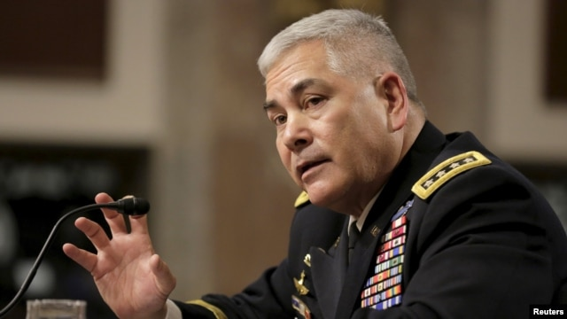 U.S. Army Gen. John Campbell, commander for Resolute Support and commander of U.S. Forces-Afghanistan, testifies before a Senate Armed Services Committee hearing in Washington on February 4.