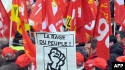 Францияда Кесиптик кошундар айлыктарды көтөрүүнү талап кылып, митинг өткөрүшкөн. 29-январь, 2009-ж.