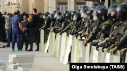 Riot police line up at a rally against a lockdown order in Vladikavkaz, North Ossetia, in Russia's North Caucasus.