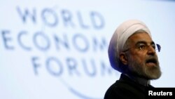 Iranian President Hassan Rohani speaks during a session at the annual meeting of the World Economic Forum (WEF) in Davos on January 23.