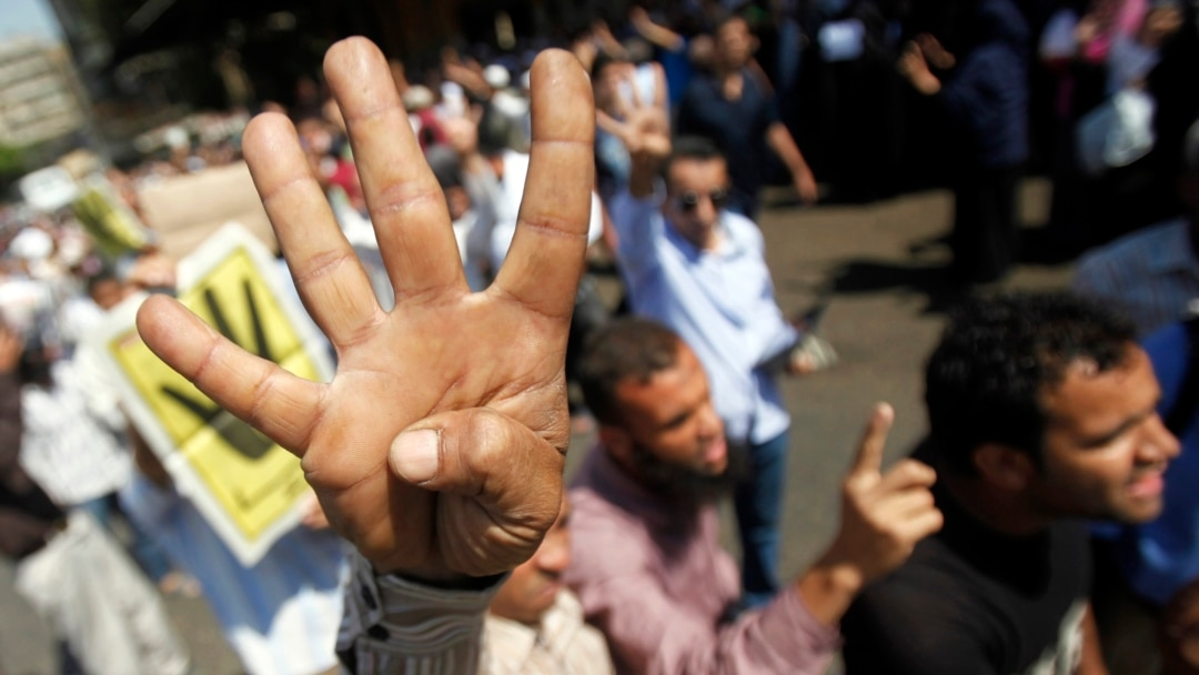 Four Finger Salute Shows Solidarity With Egypts Muslim Brotherhood
