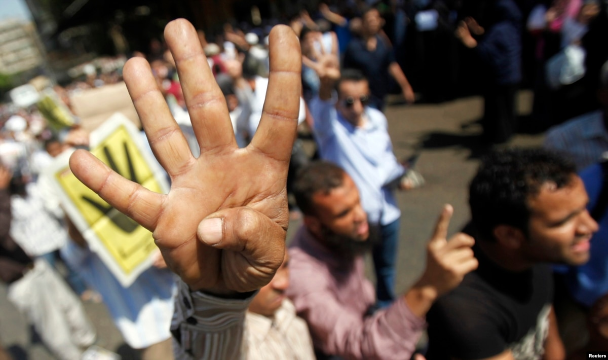 Four Finger Salute Shows Solidarity With Egypt S Muslim Brotherhood