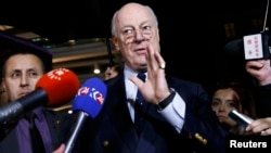 UN mediator for Syria Staffan de Mistura gestures during a news conference on the Syrian peace talks outside President Wilson hotel in Geneva, Switzerland, on February 3.