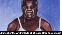 Портрет Харольда Вашингтона, погибшего мэра Чикаго, написанного студентом Дэвидом Нельсоном.