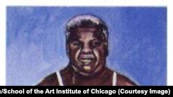 """Mirth & Girth"" by David Nelson, a student of the School of the Art Institute of Chicago, depicted late Mayor Harold Washington dressed in women's underwear. (Click to see full painting)"