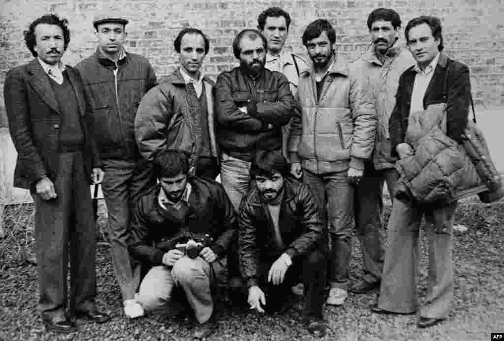 Karzai (top row, second from left) is photographed with other journalism classmates in Lille, France, in 1985. He returned to Pakistan to serve as director of information for the National Liberation Front.