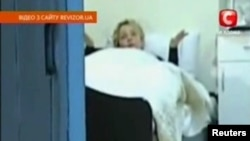 A video grab shows jailed opposition leader Yulia Tymoshenko in a cell in prison in Kyiv.