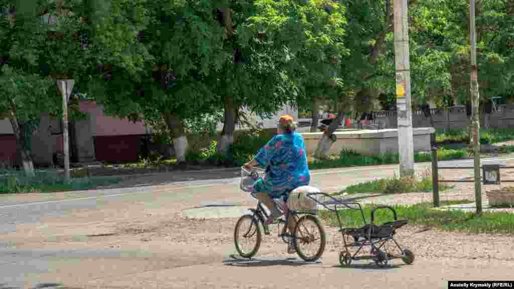 Жінка на велосипеді з коляскою на вулиці Калініна. Життя в місті «визначають» два акціонерних товариства: «Бром» і «Кримський содовий завод», які є найбільшими платниками податків. Разом із підприємствами сусіднього Армянська вони входять в єдиний Перекопський промисловий комплекс