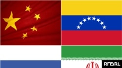(Top left - clockwise) Flags of China, Venezuela, Iran, and Russia, 2009