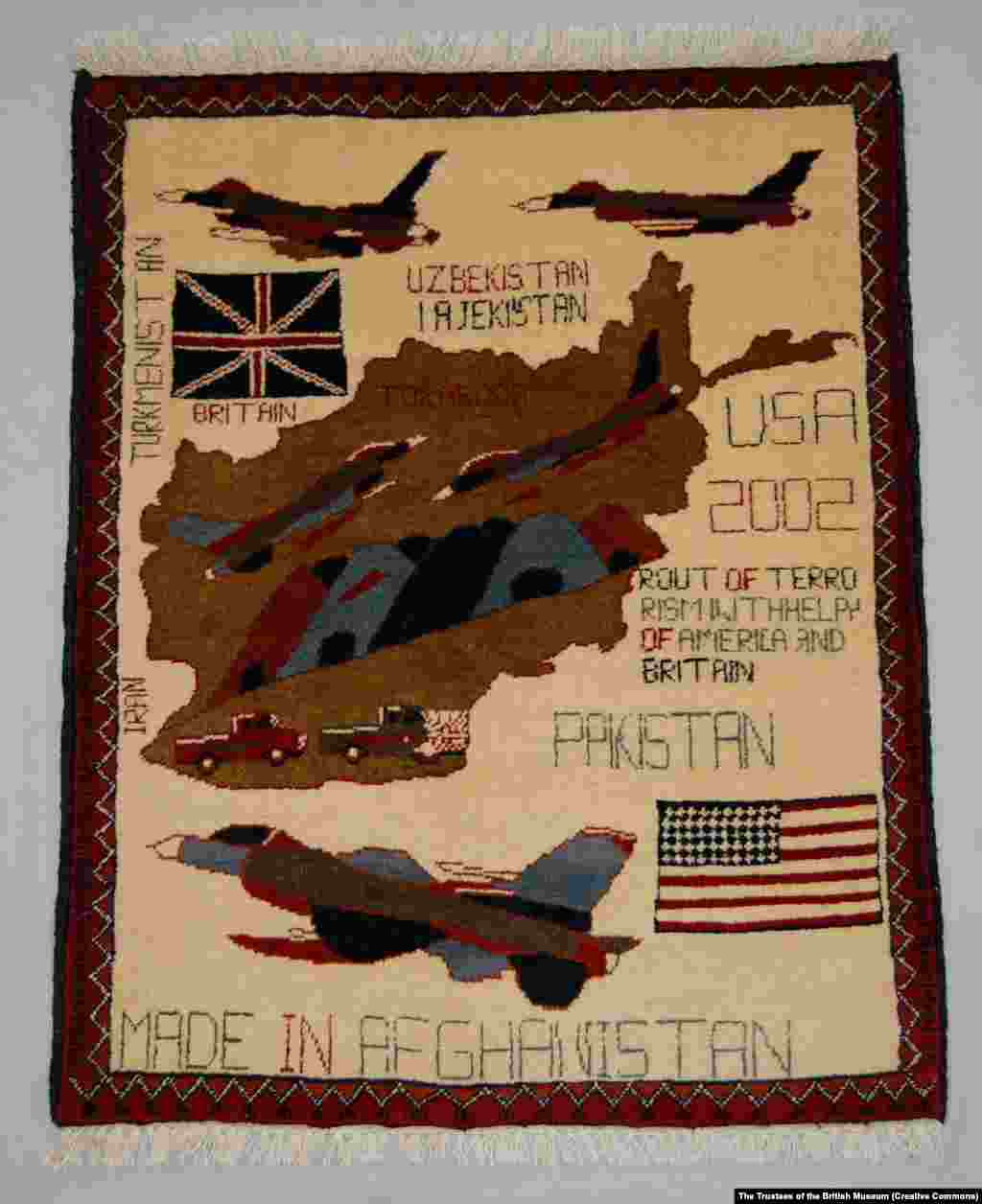 A war rug features the Tora Bora cave complex, where the U.S. military hunted unsuccessfully for Osama bin Laden in 2001.