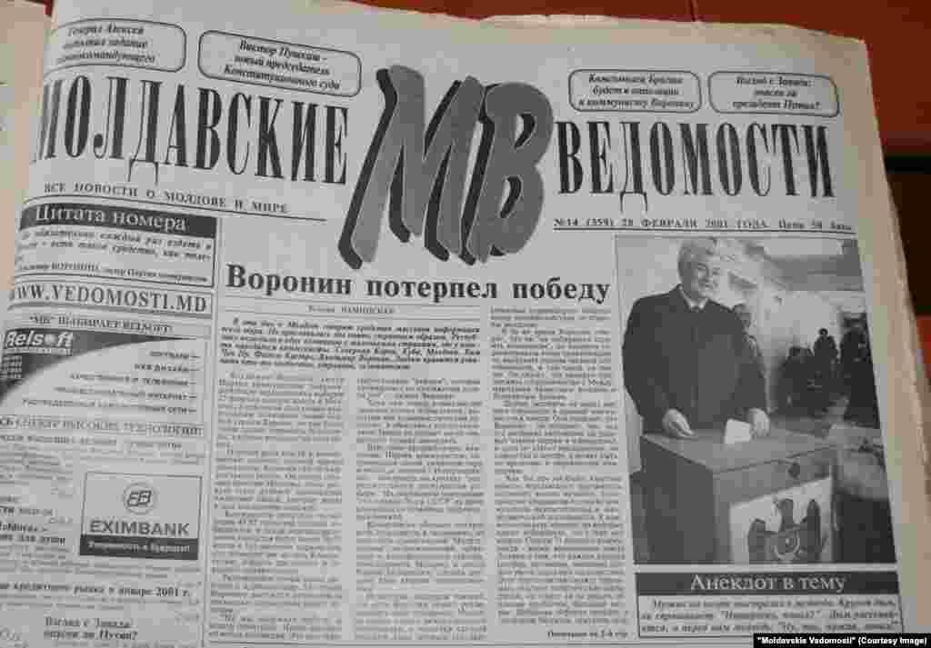 """Moldavskie Vedomosti"", 28 februarie 2001, victoria comuniştilor la alegerile din 25 februarie"