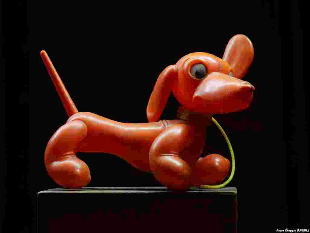 A plastic dachshund, made in Romania's Aradeanca toy factory.