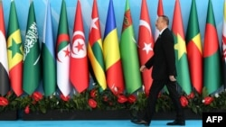 Turkey -- Azerbaijani President Ilham Aliyev attends the 13th Organization of Islamic Cooperation (OIC) Summit at Istanbul Congress Center (ICC) in Istanbul, April 14, 2016