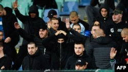 Some Bulgarian supporters in the crowd made Nazi salutes.