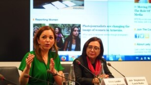 Czech Republic--International Women's Day panel discussion at RFE/RL with Silvie Lauder (left) and Julie Stejskalova (right). Prague, March 8, 2016.