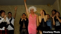 The man behind this year's gay-pride float, Pasha Zalutski, also organizes Soviet-themed gay parties by night, such as this one.