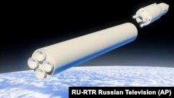 """Путин жолдауы кезінде көрсетілген гипердыбысты """"Авангард"""" зымырандық кешенінің компьютерлік моделі."""