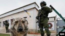 Украинская воинская часть под Симферополем, блокированная российскими военнослужащими