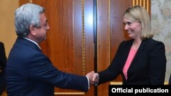 Armenia - President Serzh Sarkisian meets with U.S. Deputy Assistant Secretary of State Bridget Brink in Yerevan, 27Jun2016.