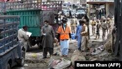 Місце після вибуху на овочевому ринку в столиці провінції Белуджистан Кветті, 12 квітня 2019 року