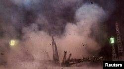 Запуск ракеты-носителя «Союз» с космодрома Байконур.