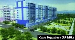 Эскиз дома, в котором планируется доступное жилье. Алматы, 15 ноября 2012 года.